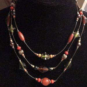 Three wire necklace with beads